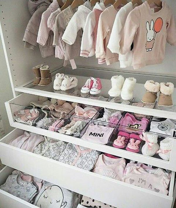 20 Simple And Practical Nursery Organization Hacks | Baby Girl Room, Baby Closet, Baby Girls Nursery