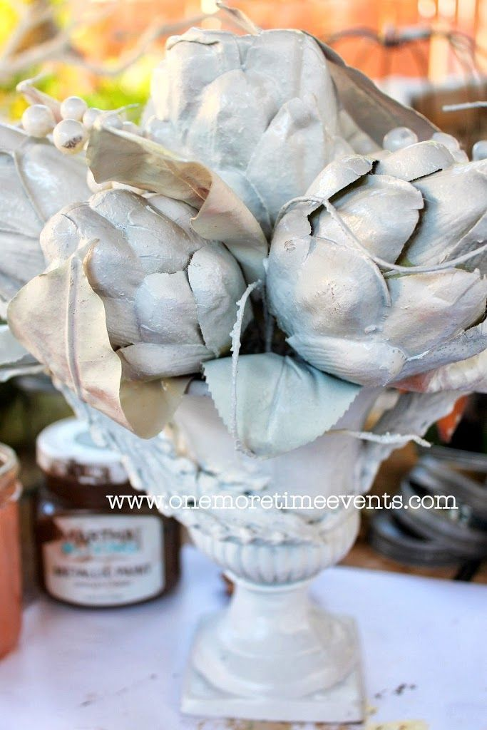 2 Projects on How to Painted with Metallic Glazes: Artichoke Arrangement and Bottle Caddy - One More Time Events