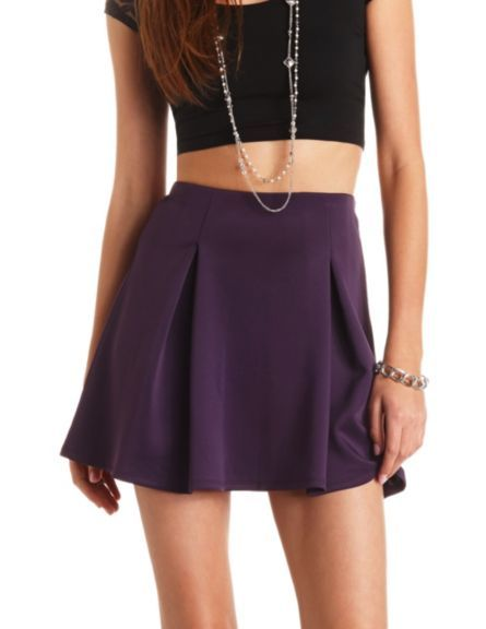 d583dc53ab Box-Pleated High-Waisted Skater Skirt: Charlotte Russe | Charlotte ...