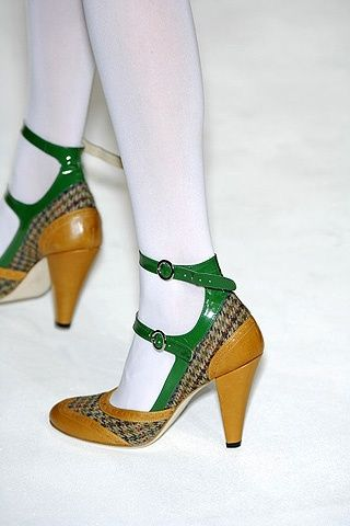 tweed ankle strap heels by Eley Kishimoto... there's something amazing with these shoes... (And something horrible. I think... brown leather and different heel...perhaps... or cream and green tweed...)