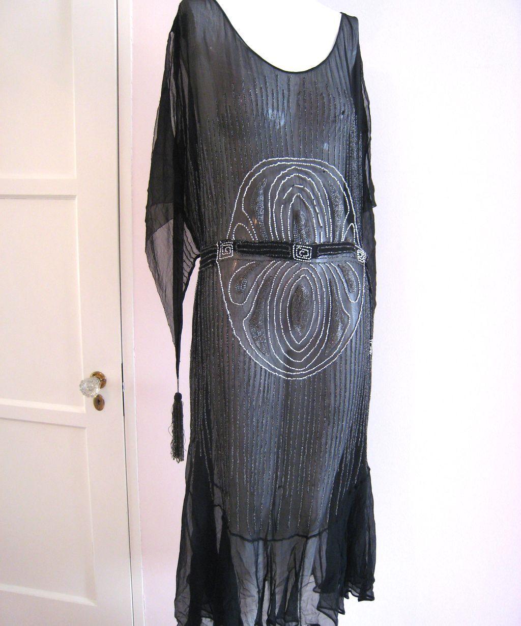 edc9a0d81d5d5 Art Deco 1920s Beaded flapper Dress Black Silk Chiffon Tassel & Self Belt