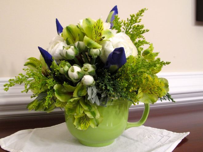 Teacup arrangement that inspires further thought for future containers.