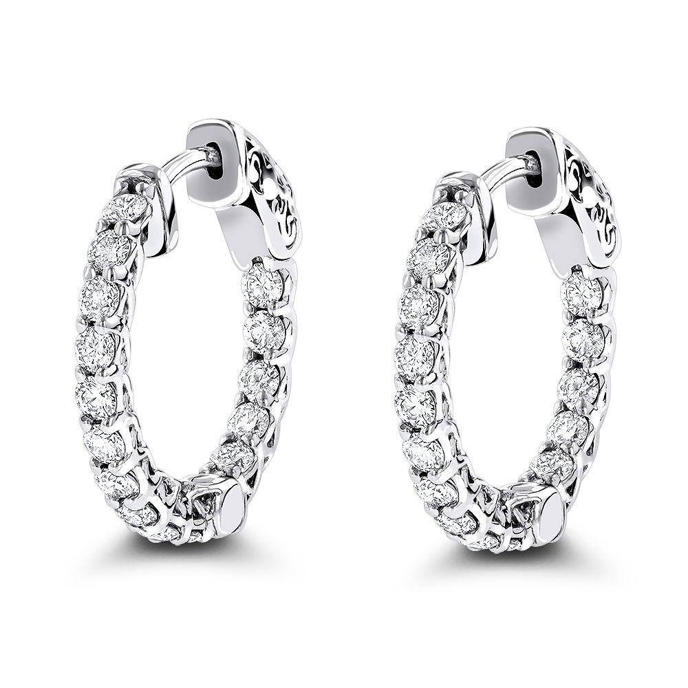 14k Gold Inside Out Diamond Hoop Earrings For Women 1 5ct
