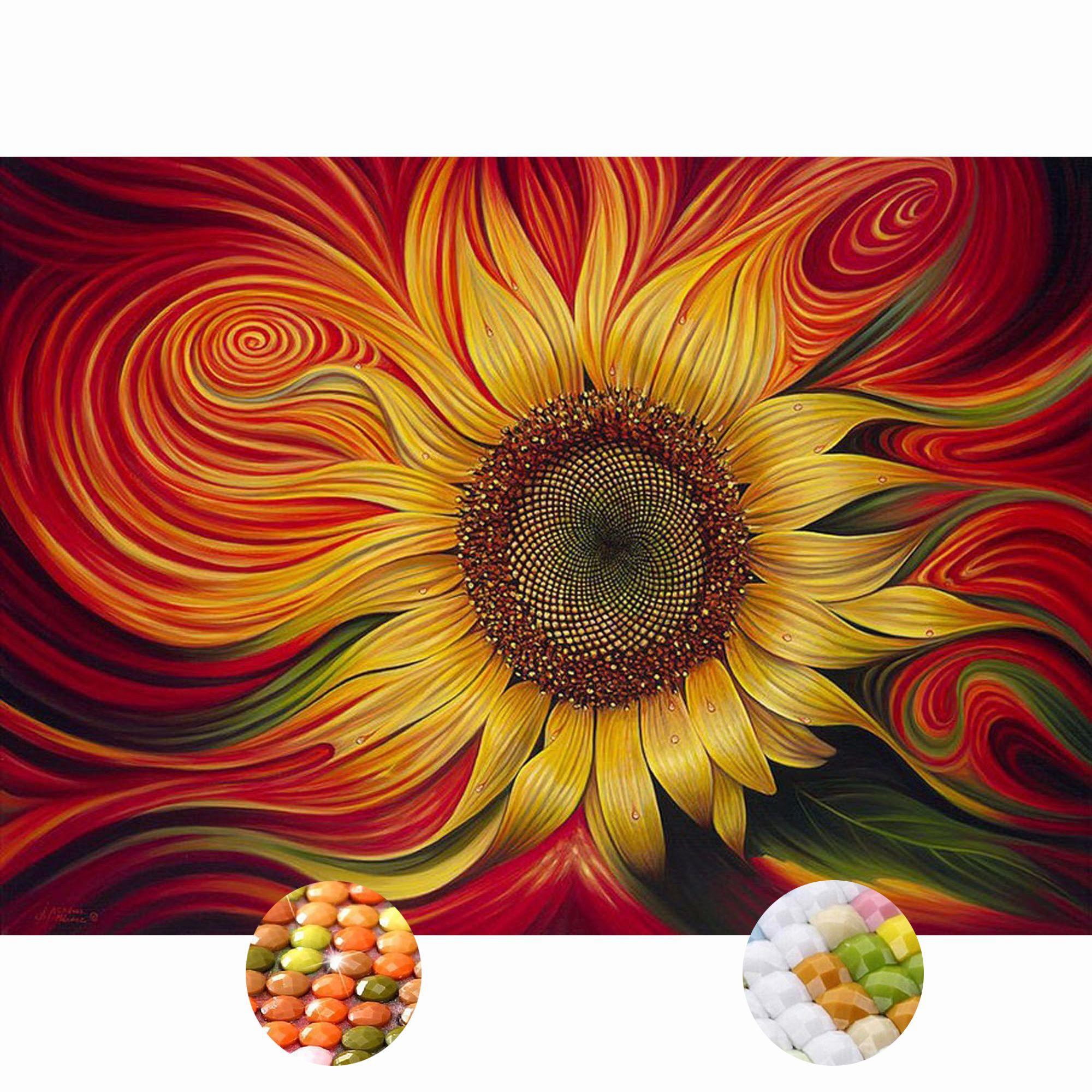5d diamond painting kit full drill sunflower abstract