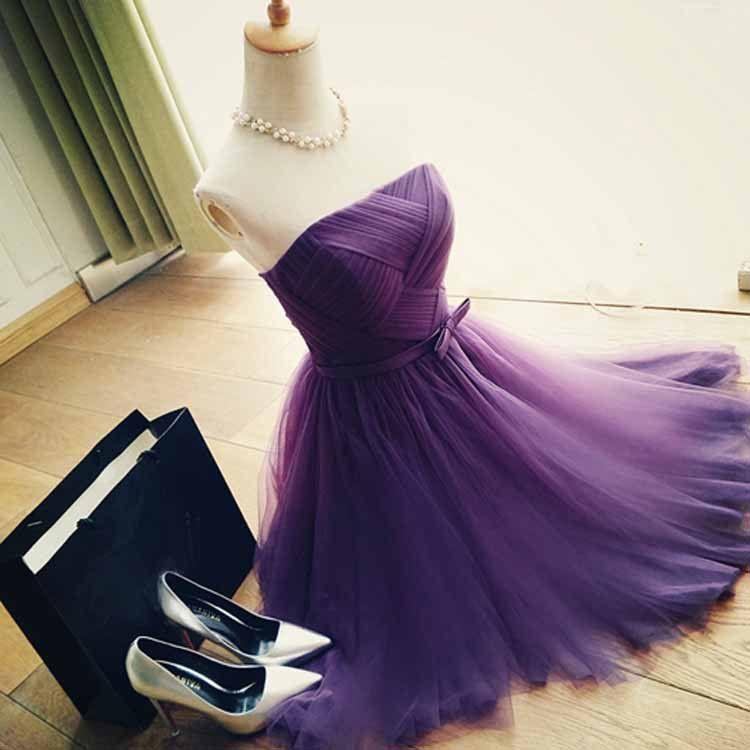 Sale! Cute Purple Tulle A-line Strapless Neckline Mini Bridesmaid ...