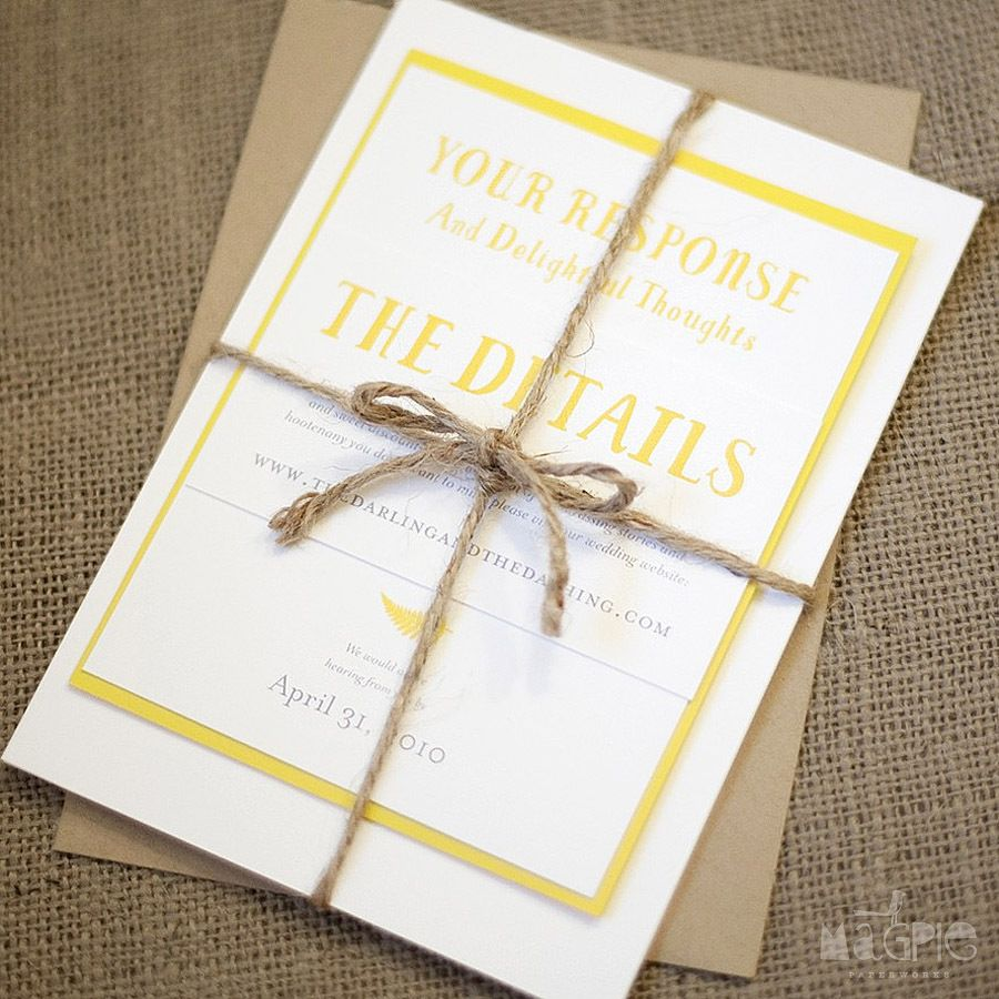 Yellow and kraft paper fern wedding invitations (with rustic jute ...