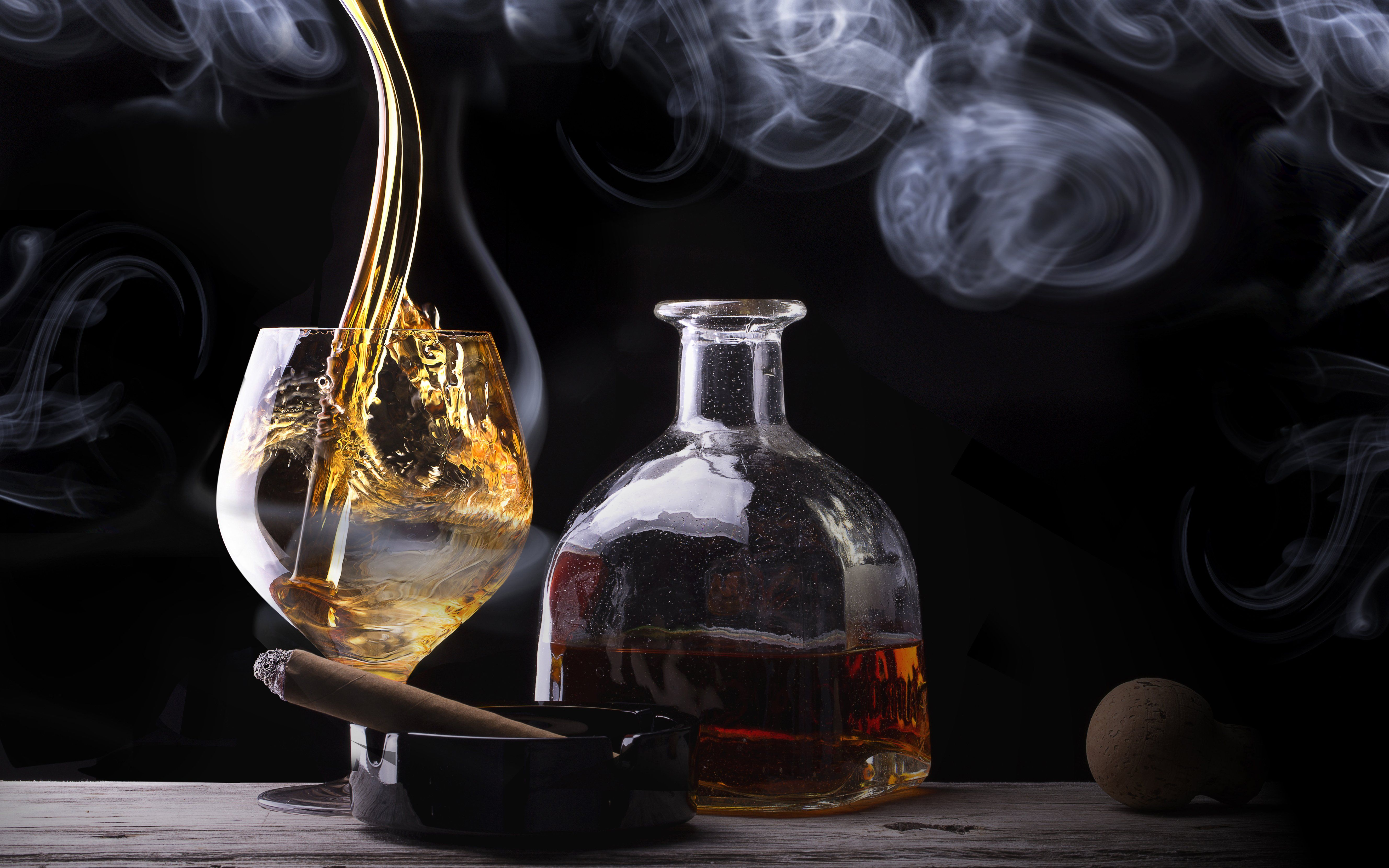 cigar whiskey glass bottle smoke alcohol f wallpaper | 5312x3320