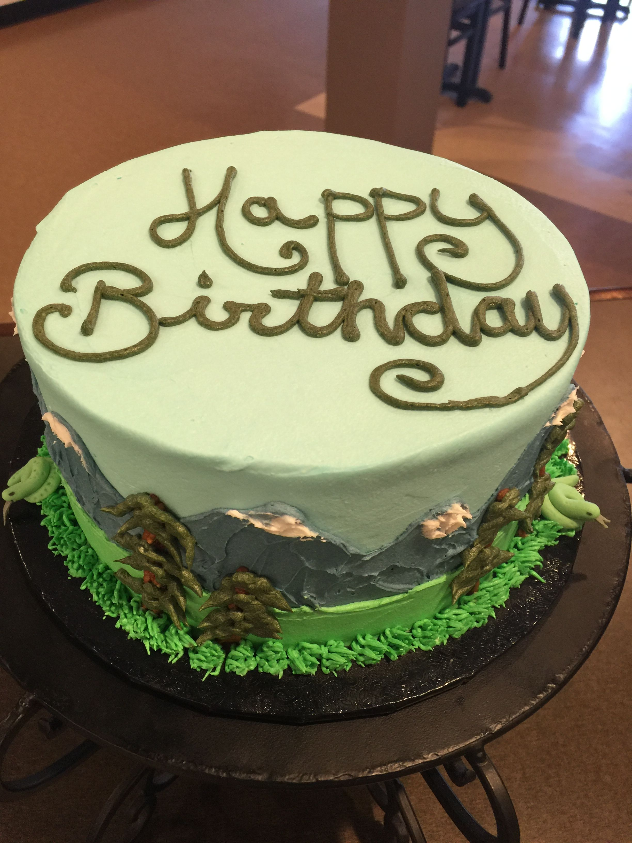 Mountain scene birthday cakes/Daddy Cakes Bakery, Fort Collins, CO ...