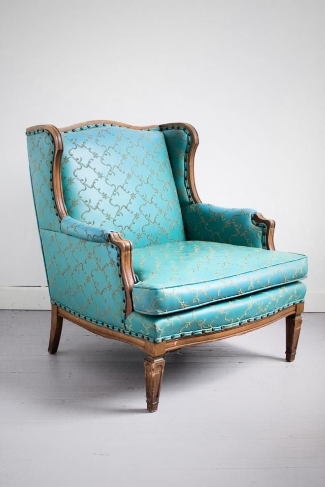 Vintage Teal Ornate Embroidered Wingback Armchair For Sale In