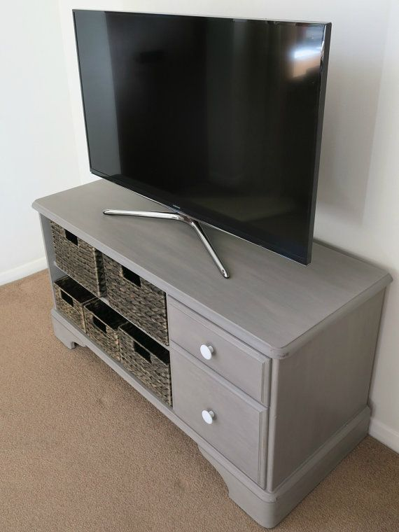 Upcycled Tv Unit Grey Tv Stand Rustic Tv Cabinet Painted Furniture Annie Sloan Shabby Chic Stora Shabby Chic Storage Rustic Cabinets Shabby Chic Upcycling #rustic #cabinets #for #living #room