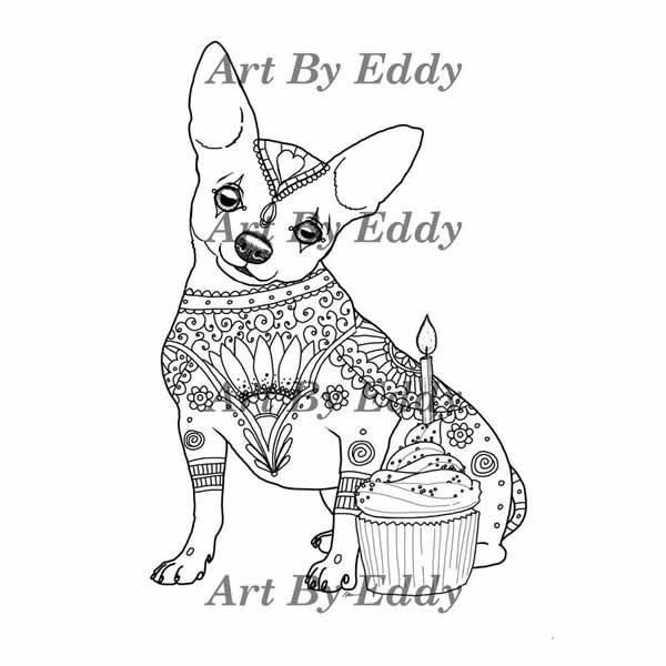 Chihuahua Coloring Book for All Ages   Coloring books and Card stock