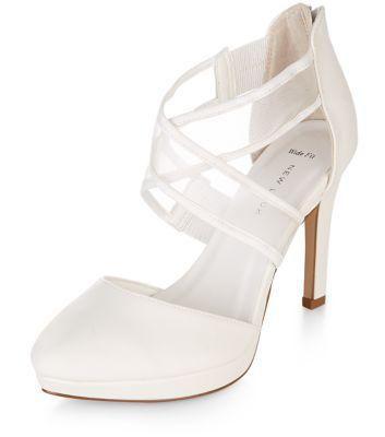 Wide Fit White Bridal Mesh Cross Strap Platform Heels Shoes Wedding
