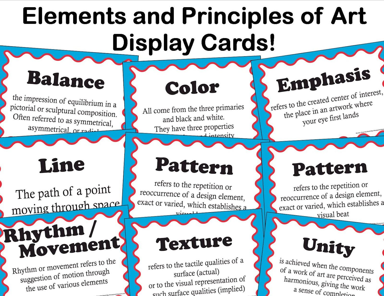 Worksheets Elements And Principles Of Art Worksheet elements and principles of art display cards from artful artsy amy common core vocabulary for
