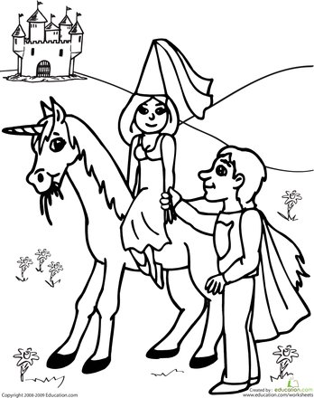 Color The Prince And Princess Education Com Unicorn Coloring Pages Coloring Pages Princess Coloring Pages