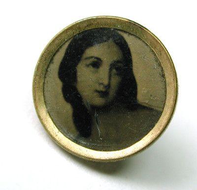 Antique Tin Type Button Lovely Woman Design DIMI Dize | eBay