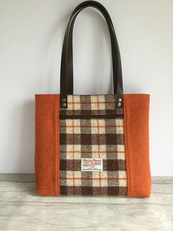 6e6b613d8b Harris tweed bag - brown tweed handbag - tweed purse - Harris tweed ...