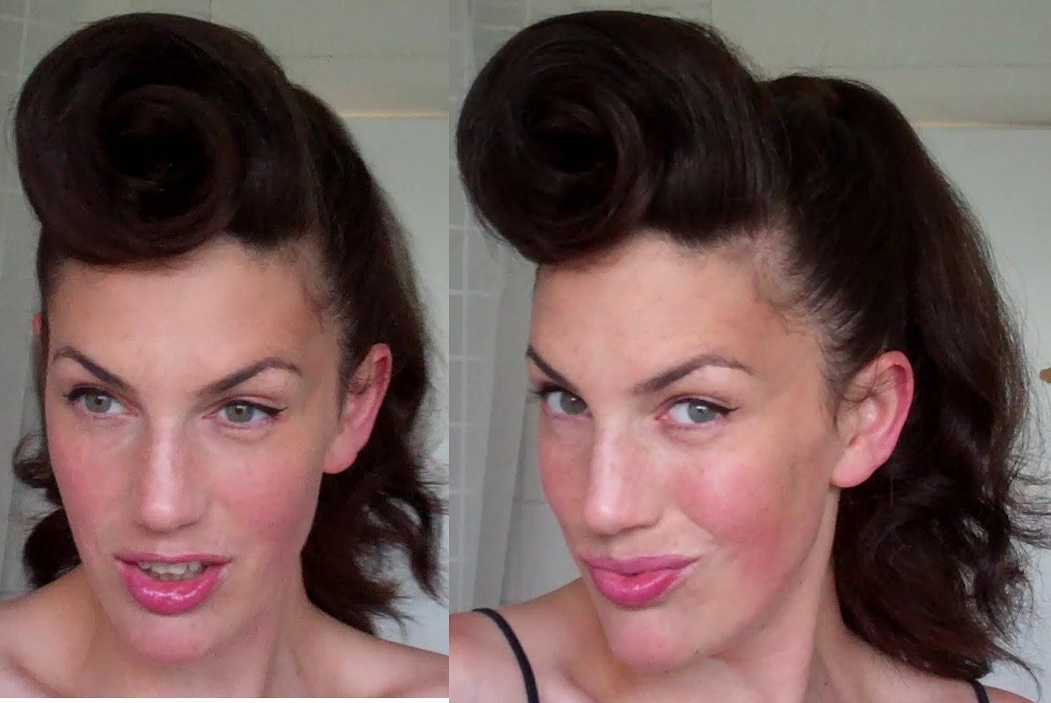 How To Rockabilly Roll Hairstyle Tutorial 40s 50s Pinup Hair Paloma