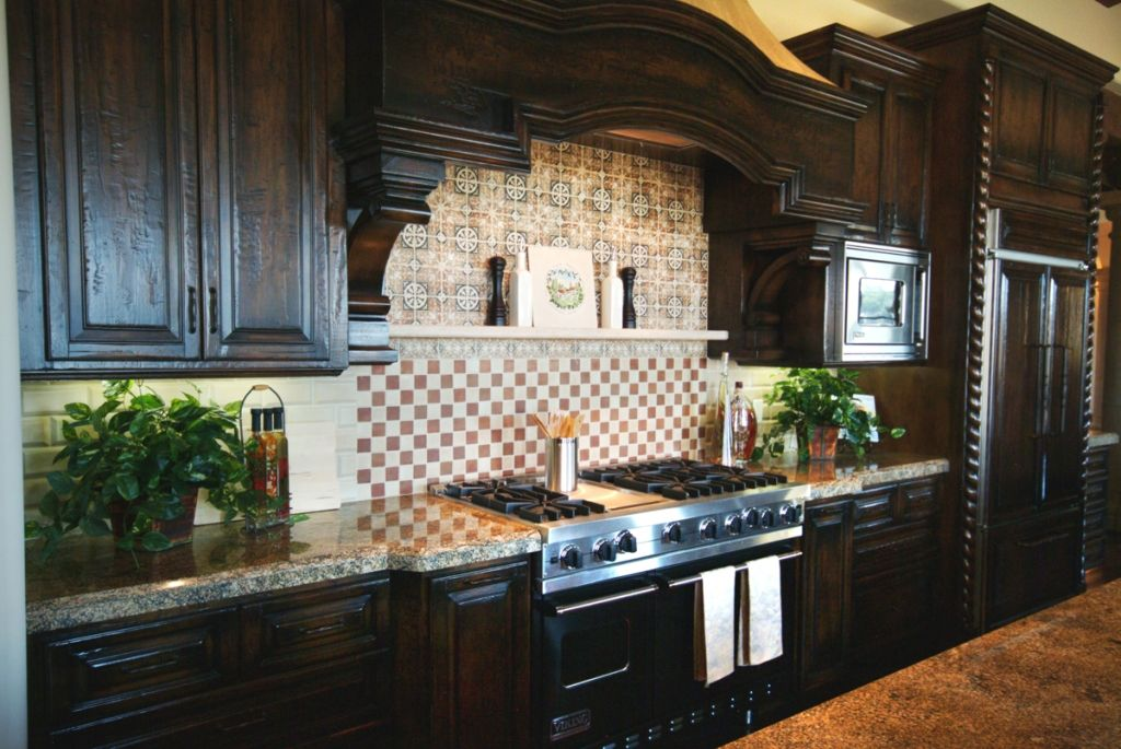 Dark Rustic Cabinets rustic-kitchen-ideas-with-luxury-dark-colored-cabinet-and-ornate