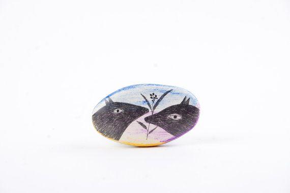 Dog Brooch Air Dry Clay Brooch Handmade Jewelry by DoubleFoxStudio, $28.00