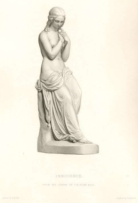 """""""Innocence"""" engraved by R.A.Artlett after a picture by F.Roffe of a sculpture by J.H.Foley, published in the Art Journal, 1851. Steel engraved antique print."""