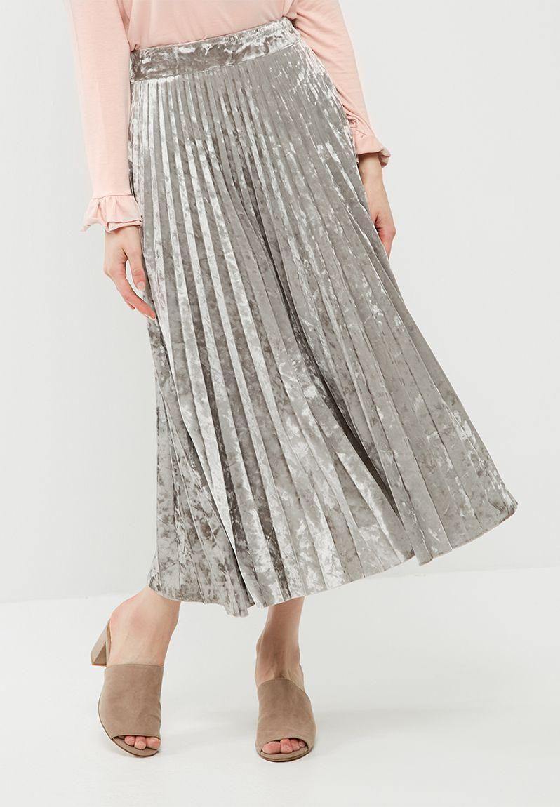 4d3404d9d7 Velvet pleated midi skirt - silver dailyfriday Skirts | Superbalist.com