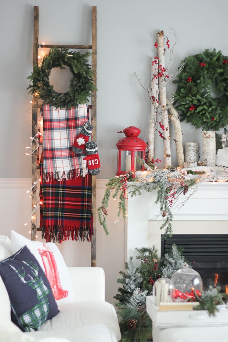 Leiter Dekorieren Weihnachtlich Skandinavisch Stil Weihnachtskranz