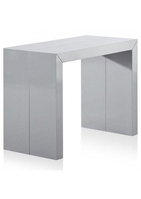 Table Console Bicolore Laquée Argent Et Blanche Kina