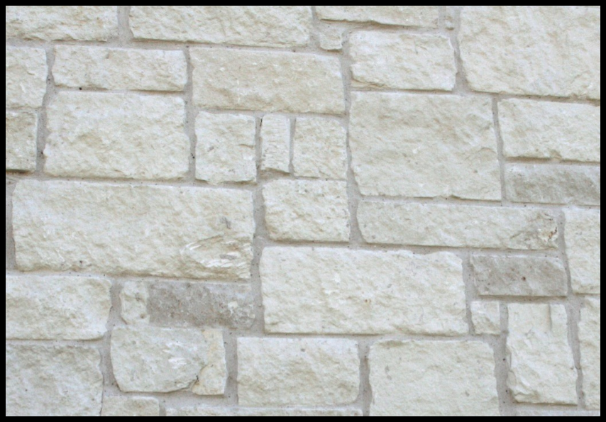 White Stone Exterior white limestone stone at exterior elevation and interior fireplace