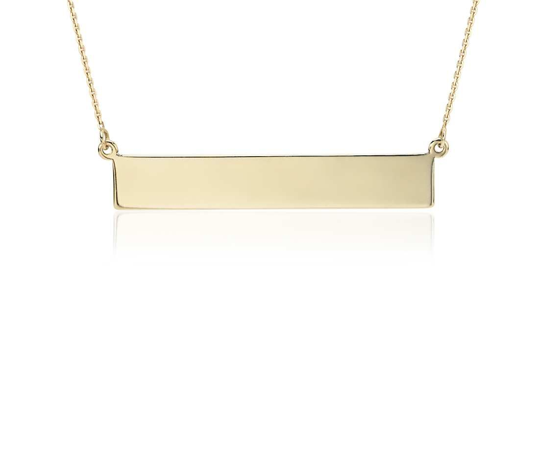 Engravable Bar Necklace In 14k Yellow Gold Blue Nile Engraved Bar Necklace Bar Necklace Gold Bar Pendant