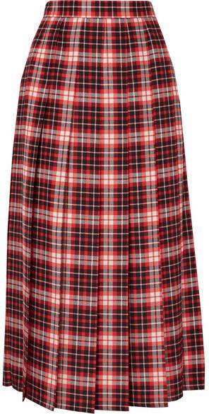 0f3f77c021 MSGM Pleated Tartan Crepe De Chine Midi Skirt - Red