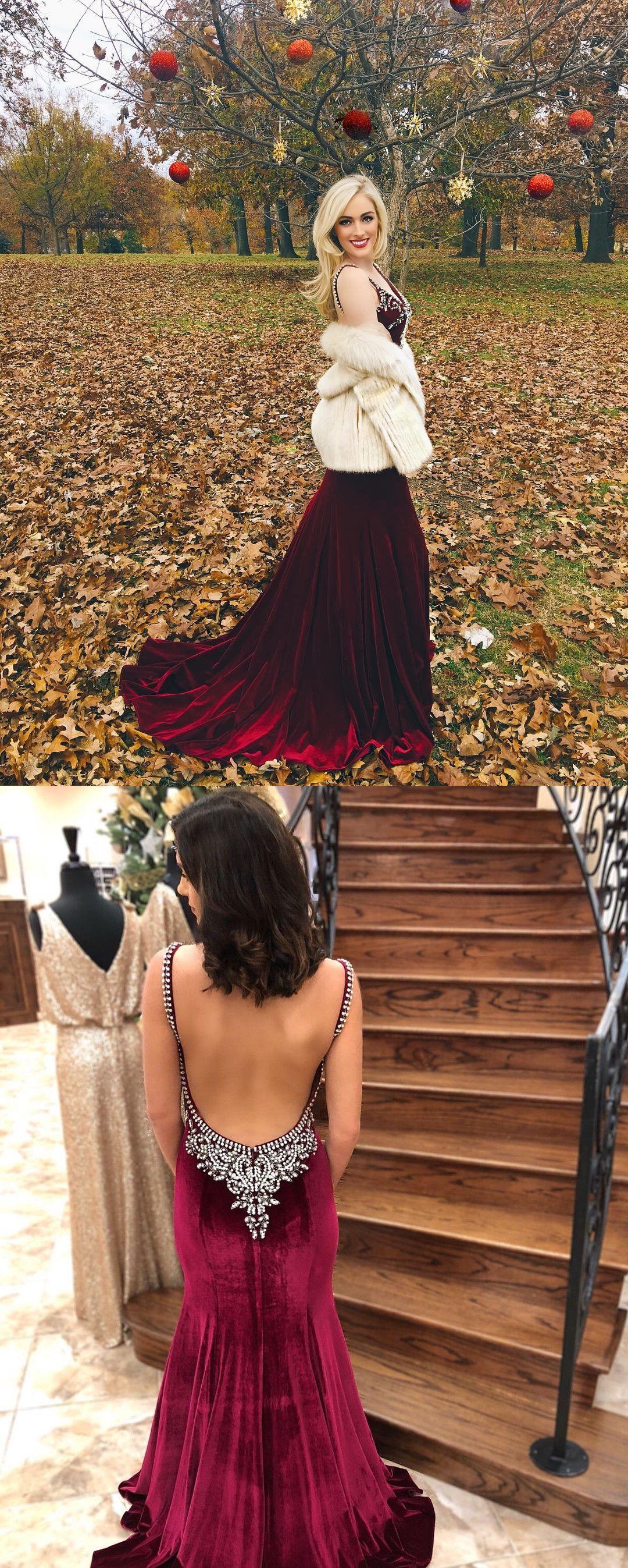 Fancy mermaid burgundy velvet long prom dress with open back prom