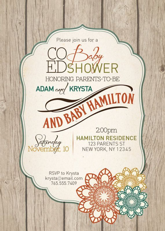 Baby shower invitation co ed optional gender neutral rustic pin this co ed fall child bathe invitation filmwisefo