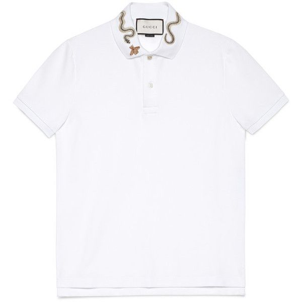 7d062e14d11e Gucci Cotton Polo With Snake Embroidery ($545) ❤ liked on Polyvore  featuring men's fashion, men's clothing, men's shirts, men's polos, men,  ready to wear, ...