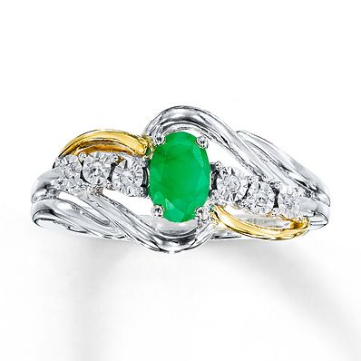 Natural Emerald Ring Diamond Accents 10K Two Tone Gold