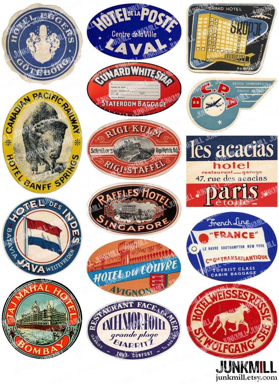 STEAMTRUNK III - Digital Printable Collage - Vintage Luggage ...
