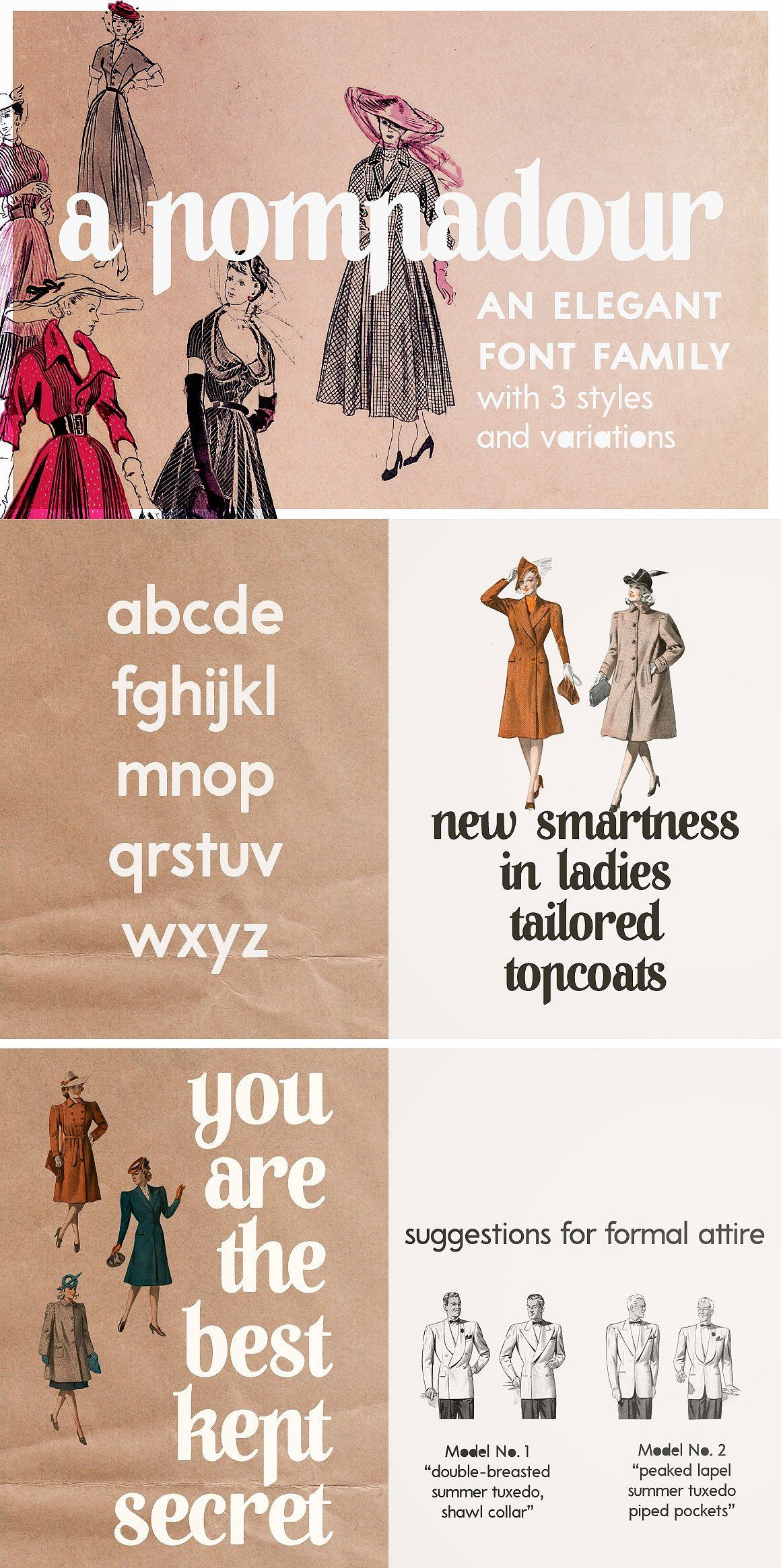A Pompadour (40% off! Intro sale) by Ana's Fonts on @creativemarket