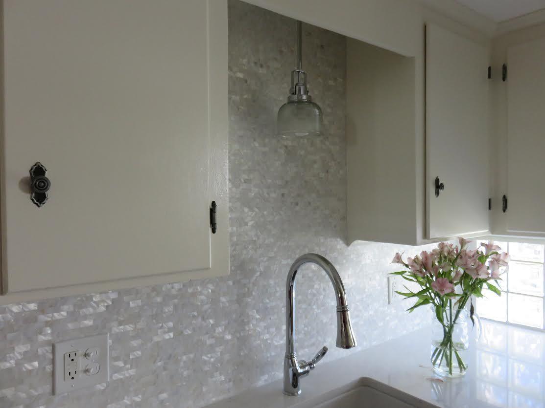 Beautifully lustrous kitchen backsplash using White Brick Groutless ...