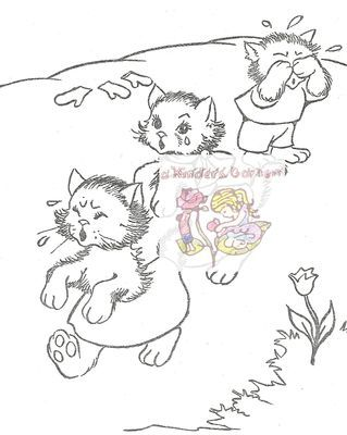 Vintage Three Little Kittens Coloring Page Freebie From A Kinders