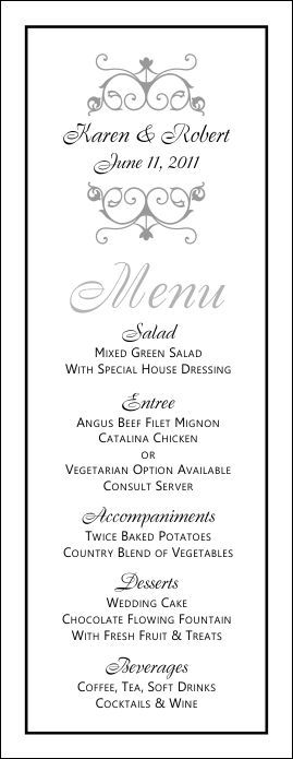 Free Printable Wedding Menus Wedding Menu Template - Wedding Menu - dinner menu templates free