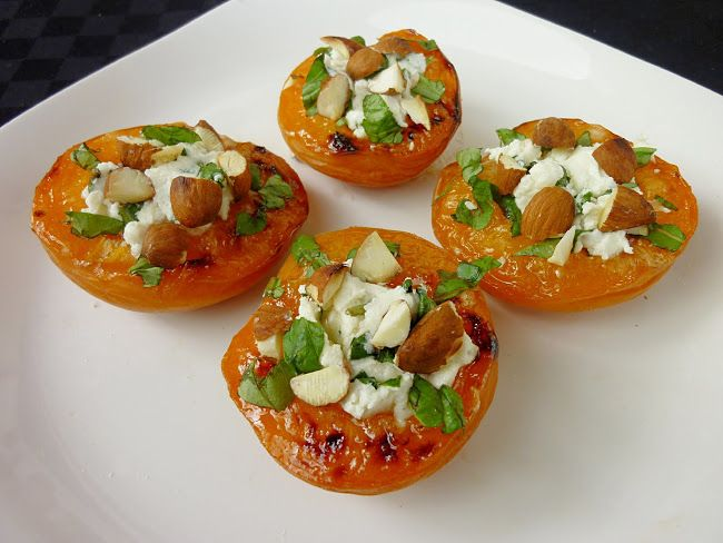Vanilla & Spice: Caramelized Apricots with Goat Cheese, Basil and Almonds