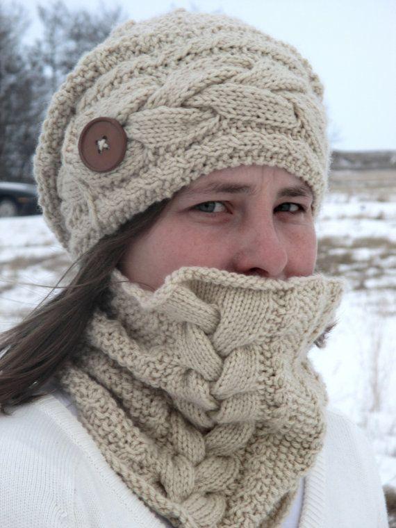 KNITTING PATTERN PDF hat and cowl set - knitting pattern hat ...