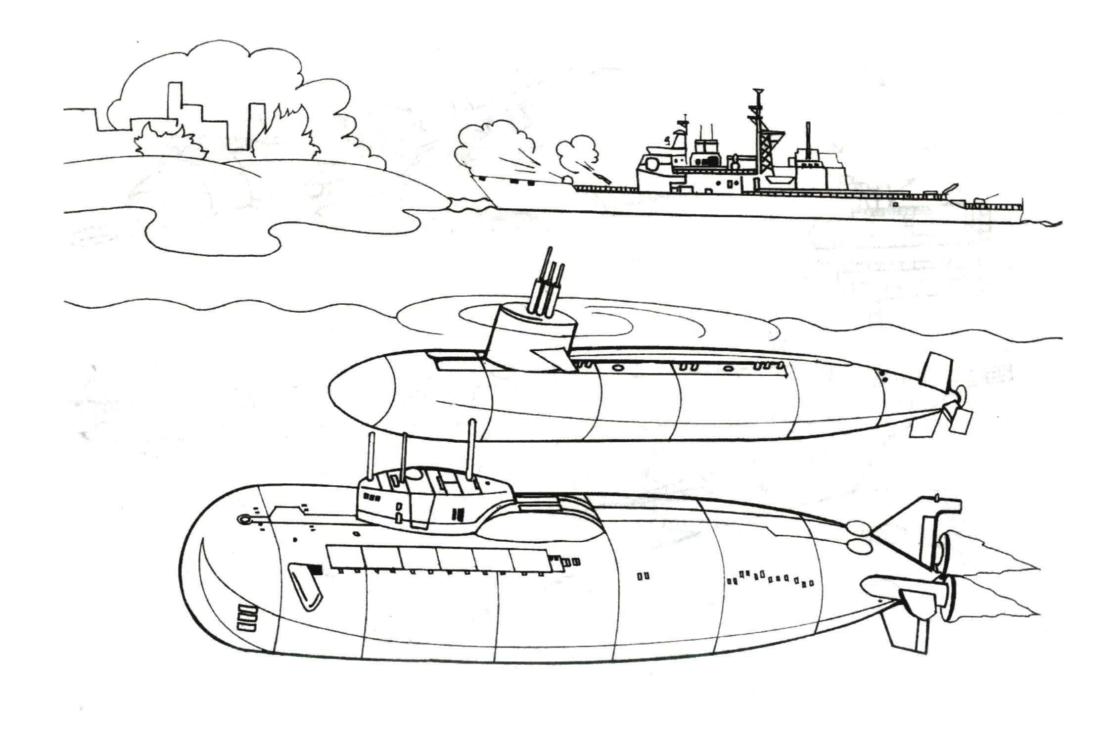 Two big submarines coloring page jpg 2240x1520 pixels coloring