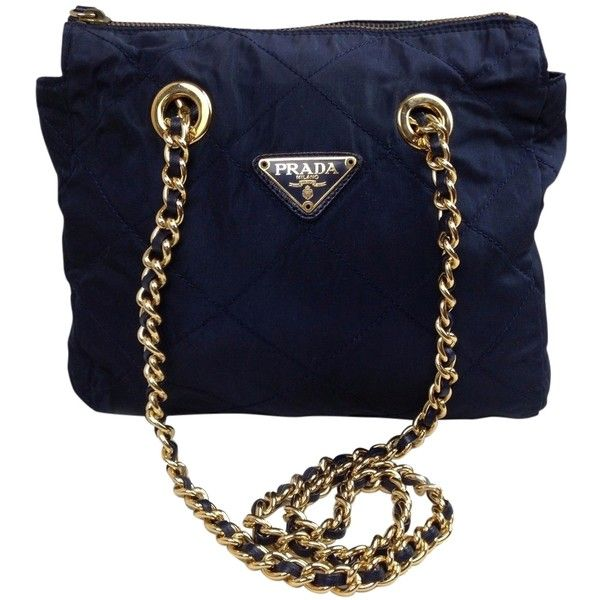 Pre-owned Prada Nylon Gold Plated Chain Blue Navy Cross Body Bag (46175 RSD 5fbf105f227f0