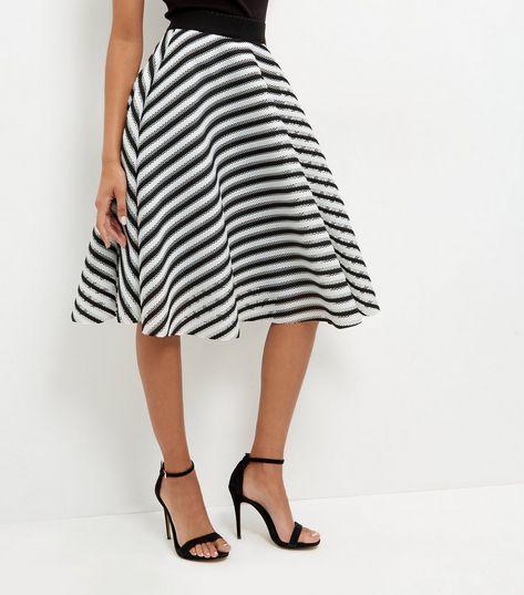 Monochrome Mesh Stripe Skater Skirt Style Pinterest Skirts