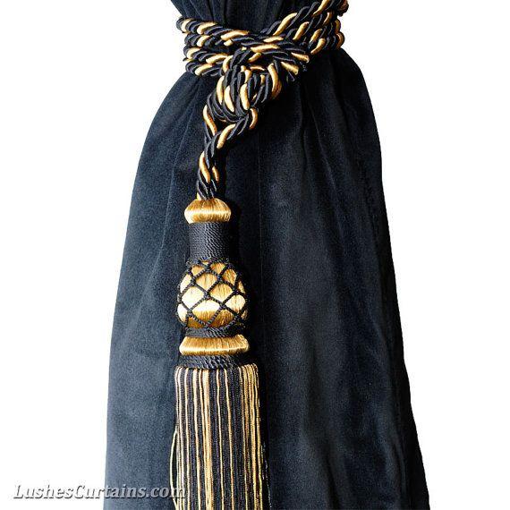 Luxueux A La Main Couleur Noir Or 1 Pompon Unique Corde Attache