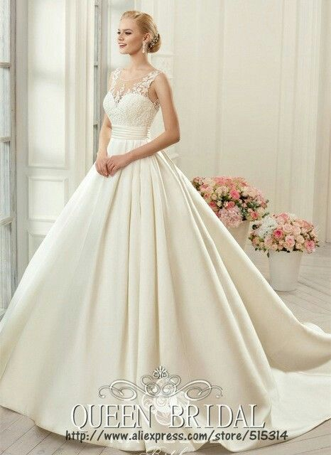 9e0aebeb900 Vintage satin and lace belted princess ball gown wedding dress ...