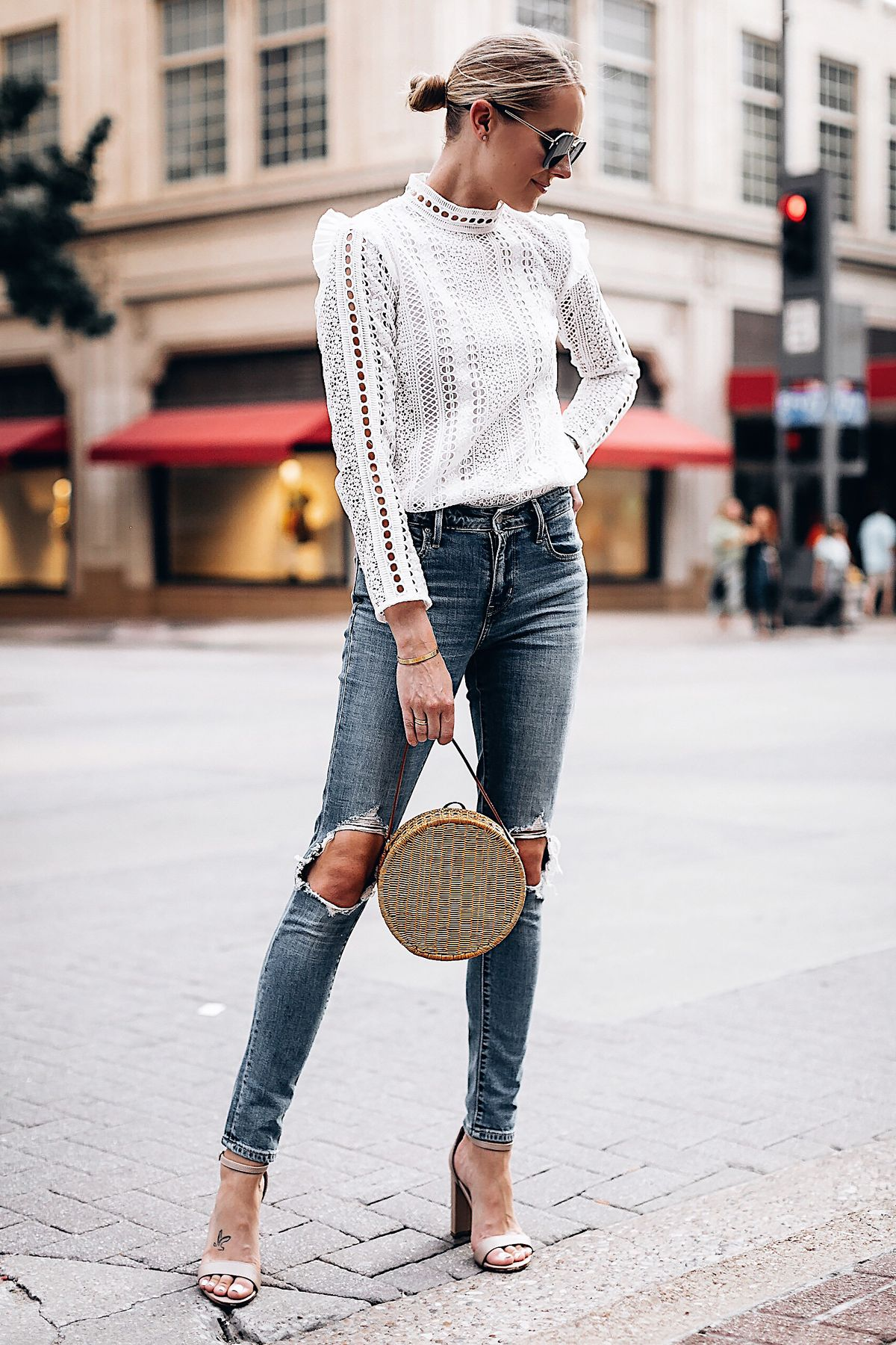 126b93be87e Blonde Woman Wearing Fashion Jackson Bloomingdales AQUA White Lace Ruffle  Top Levis 721 Skinny Jeans Tan Ankle Strap Heeled Sandals Serpui Straw  Circle ...