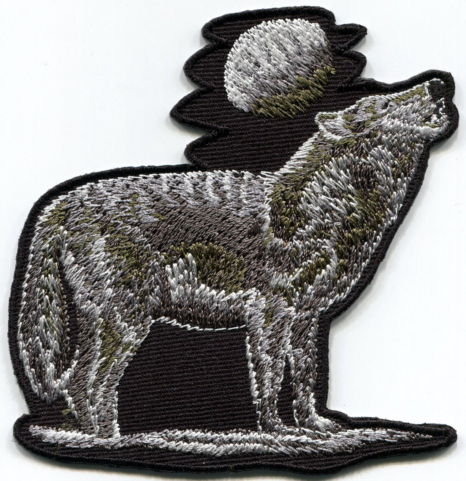 Details about Howling wolf full moon wolves embroidered