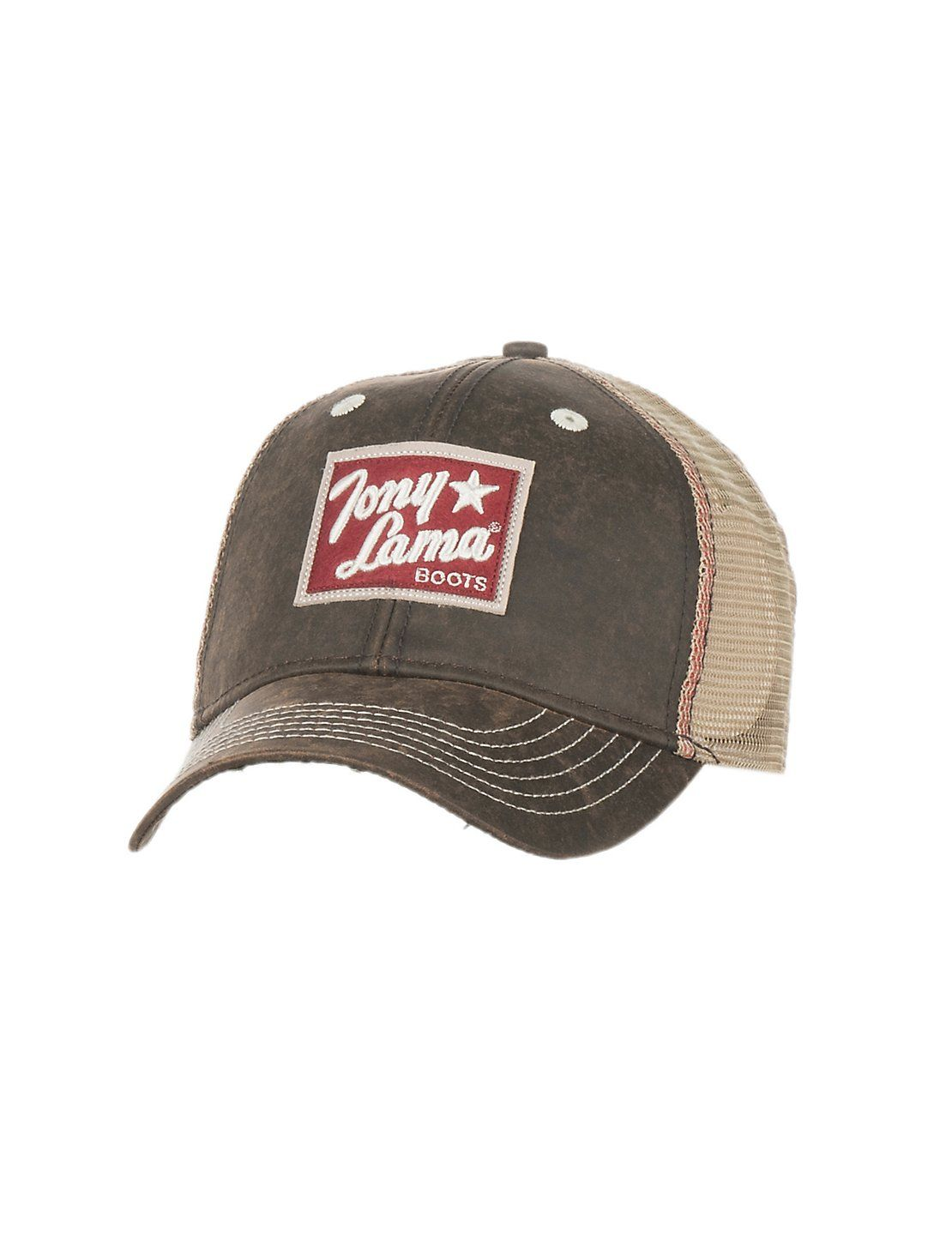 Tony Lama Oilskin Brown with Patch Logo and Cream Mesh Back Snap Back Cap  04a79253e4ac