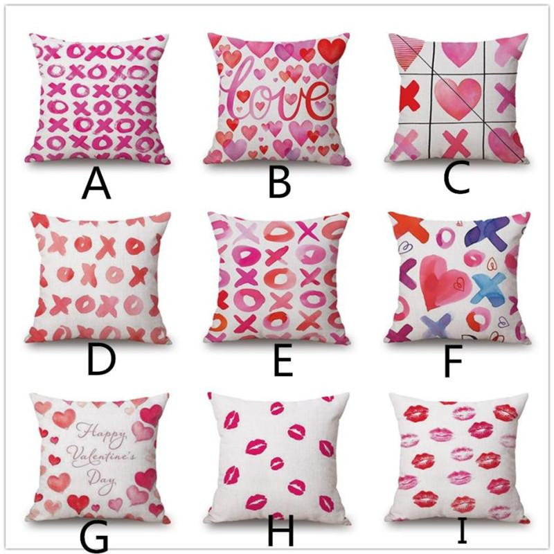 Pillow Cover Romantic Pink Lips Print Pillows Printed Throw